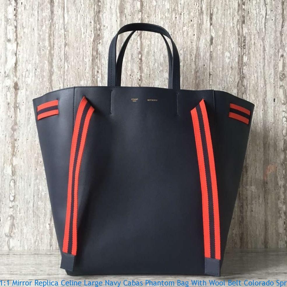 0bbee22cf9c4 1 1 Mirror Replica Celine Large Navy Cabas Phantom Bag With Wool ...