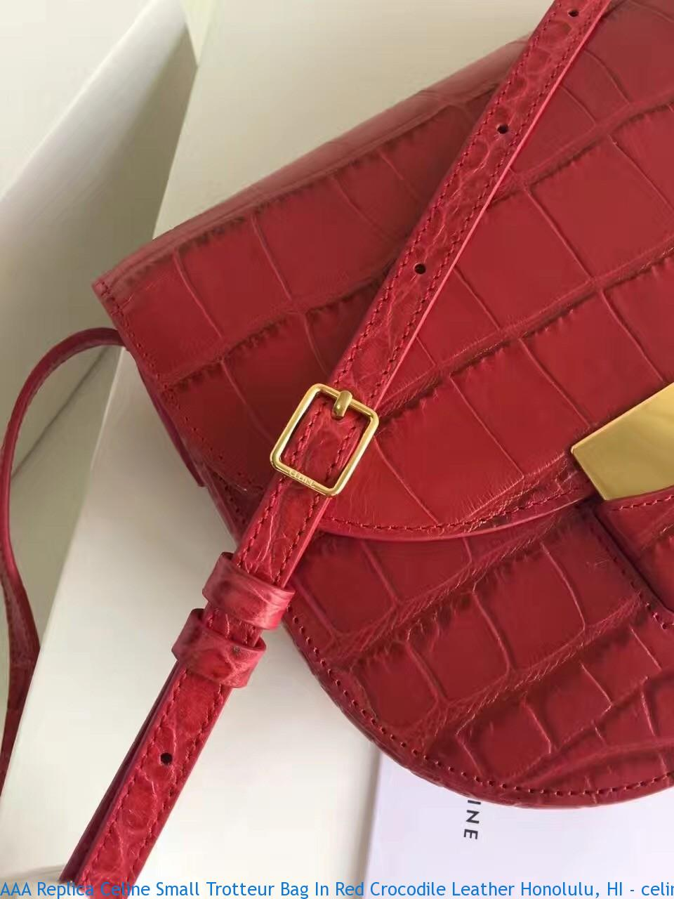 3b8b12ee1a AAA Replica Celine Small Trotteur Bag In Red Crocodile Leather ...