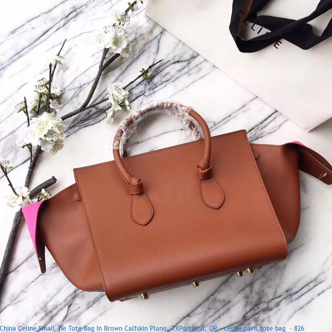 ebf34bbc31b4 China Celine Small Tie Tote Bag In Brown Calfskin Plano