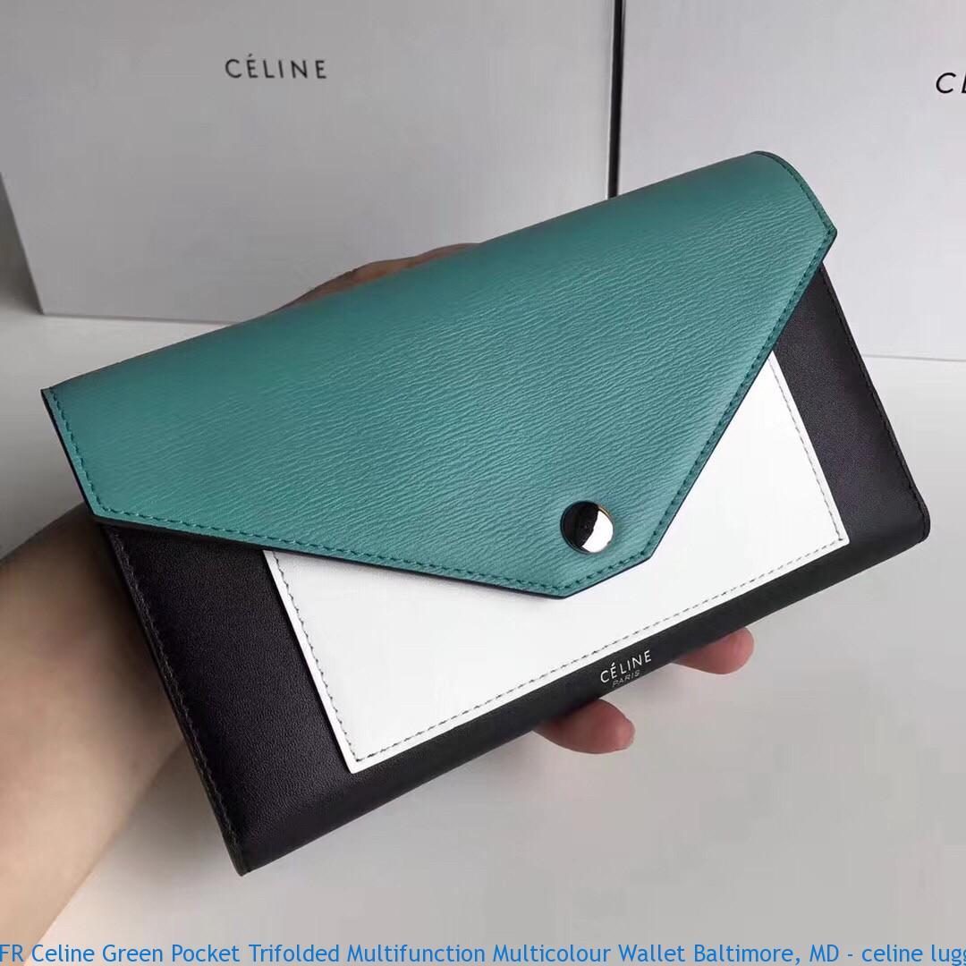 FR Celine Green Pocket Trifolded Multifunction Multicolour Wallet ... 5c5cded4cf287