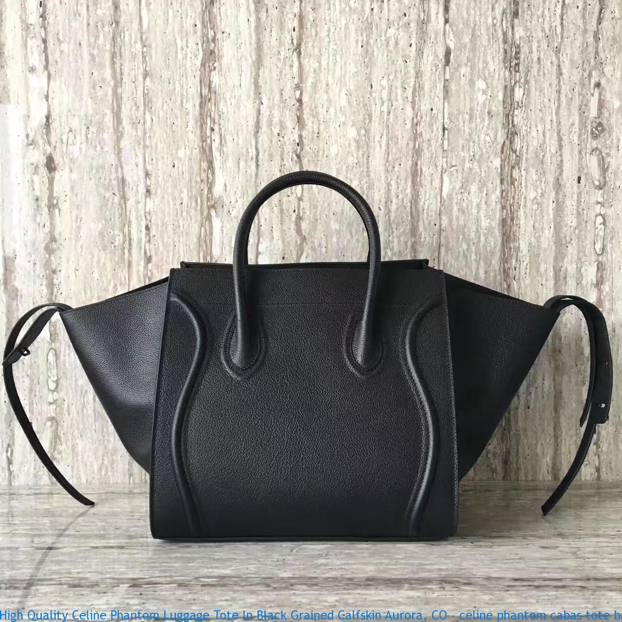 High Quality Celine Phantom Luggage Tote In Black Grained
