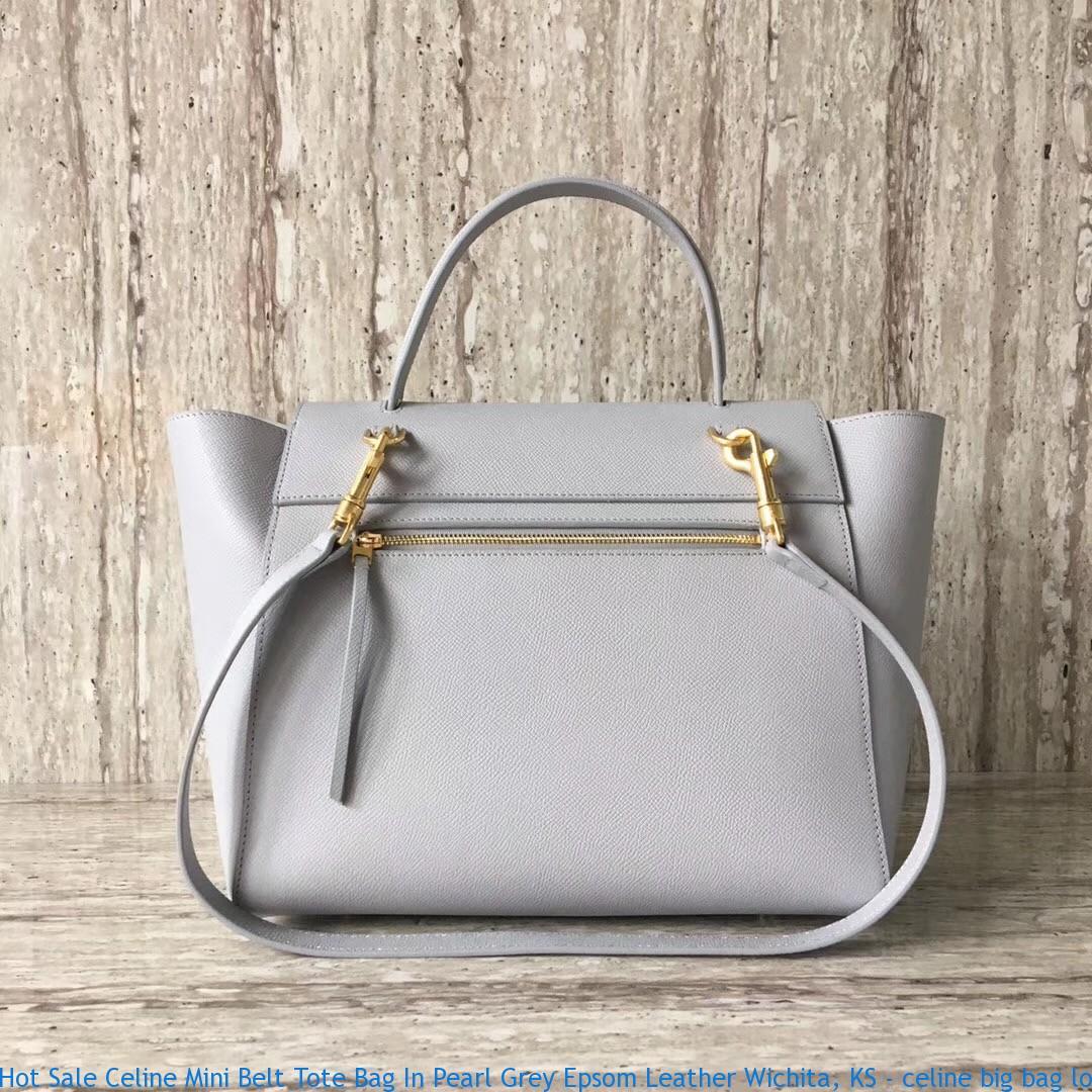 Hot Sale Celine Mini Belt Tote Bag In Pearl Grey Epsom