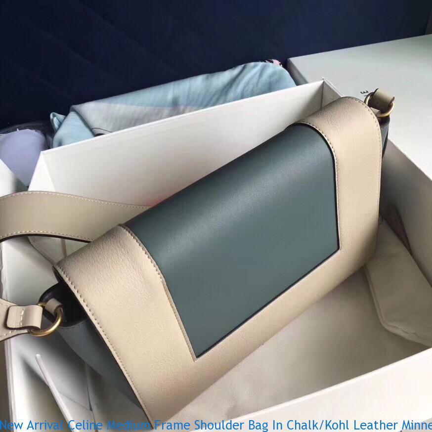 New Arrival Celine Medium Frame Shoulder Bag In Chalk Kohl Leather ... 91c293d07c33b