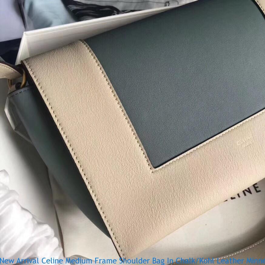a91d734692e4 New Arrival Celine Medium Frame Shoulder Bag In Chalk Kohl Leather ...
