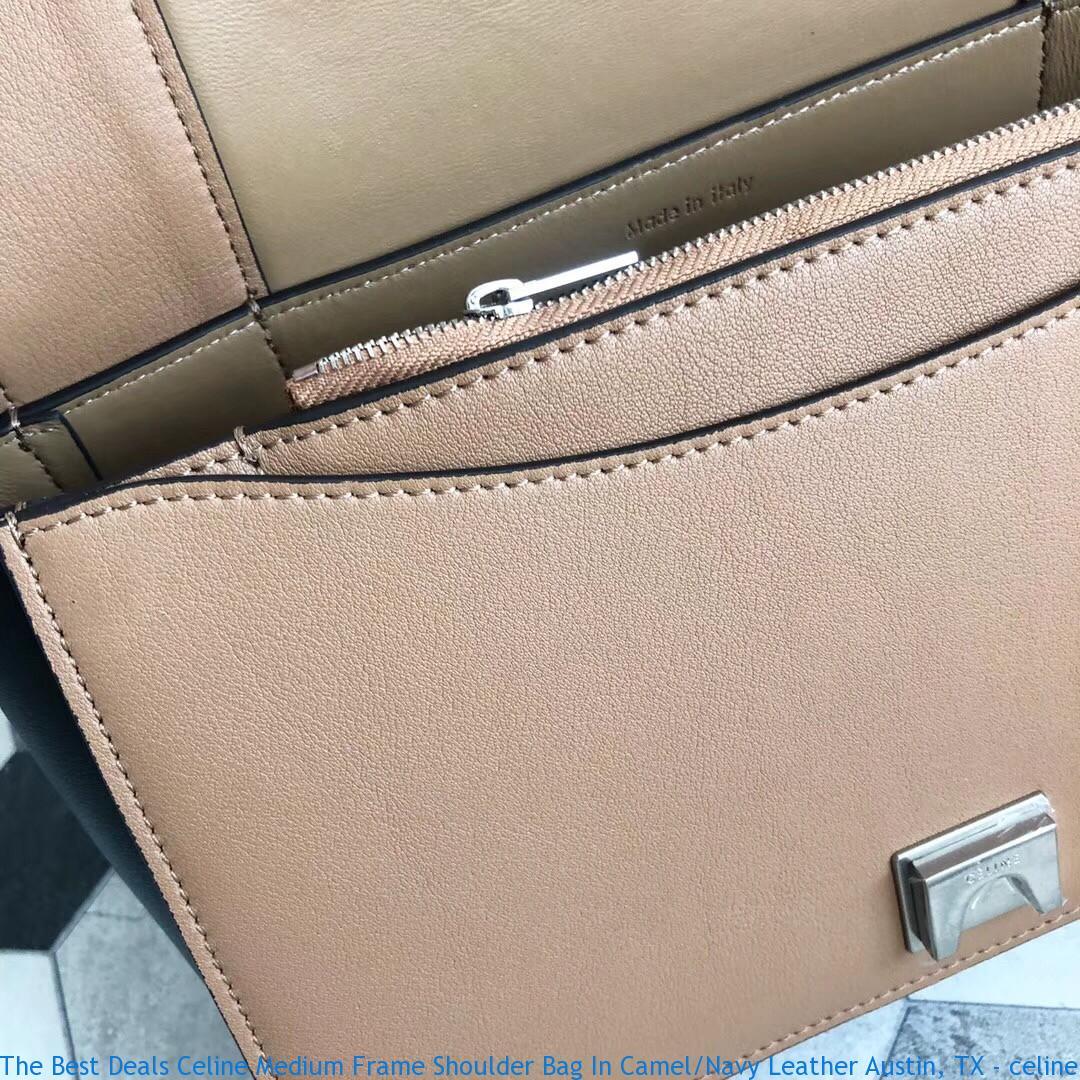 c06e0a302b61 The Best Deals Celine Medium Frame Shoulder Bag In Camel Navy ...