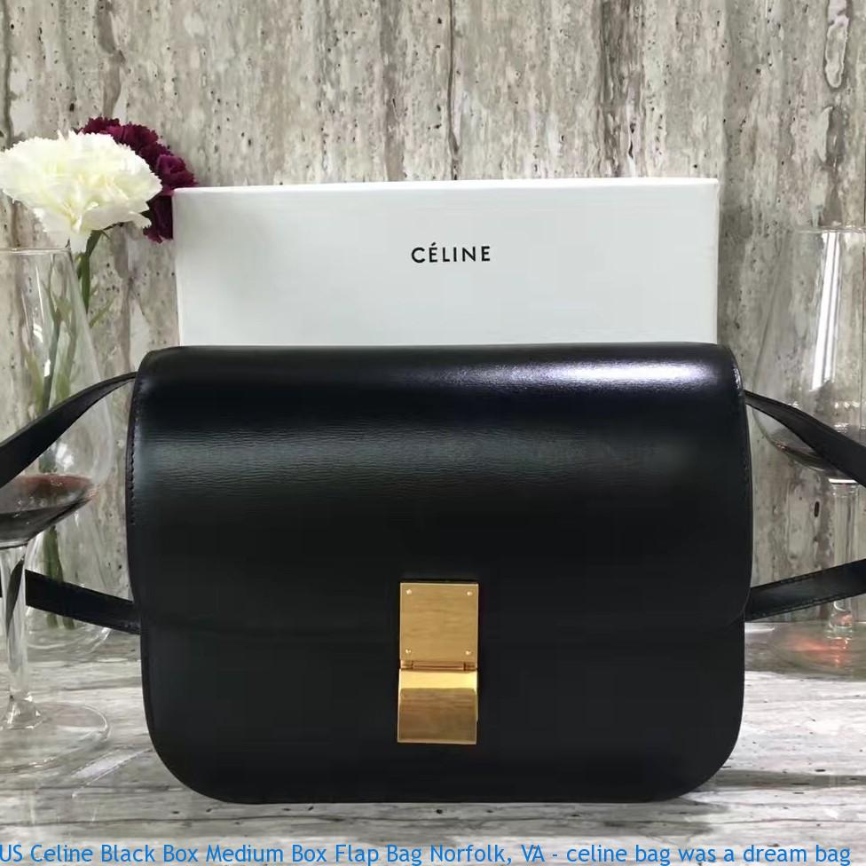 Us Celine Black Box Medium Flap Bag
